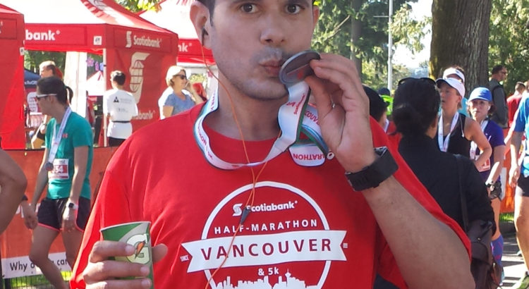 Kissing my Scotiabank Half Mara Medal